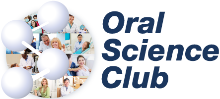 oral science club logo circle with stock images of dental professionals